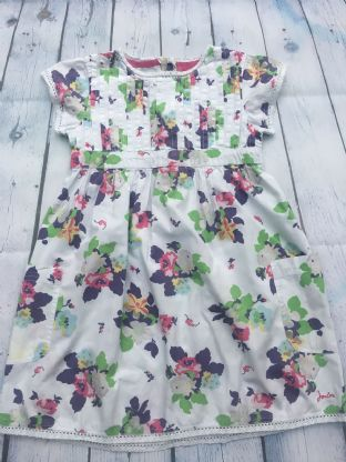 Joules floral dress with front pockets age 4-5